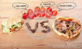 pizza vs hamburger